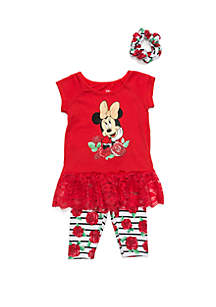 Disney® Baby Girls Minnie Mouse Floral Set with Scrunchie