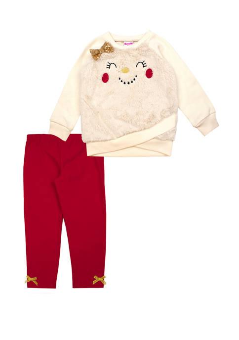 Toddler Girls Snowman Face Top and Leggings Set