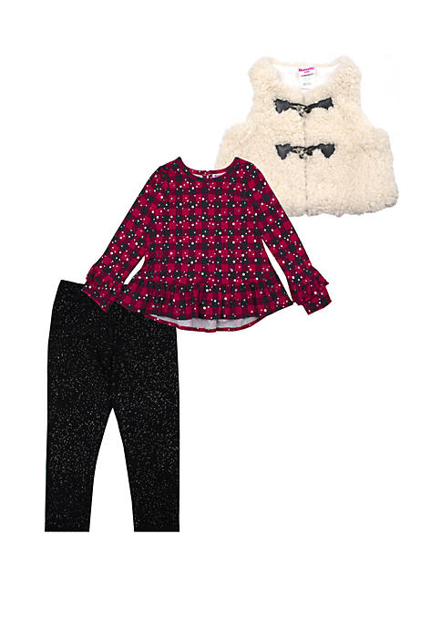 Toddler Girls Buffalo Check Vest and Leggings Set