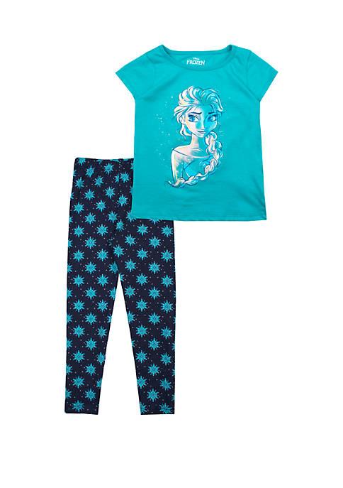 Toddler Girls Short Sleeve Elsa Top and Leggings Set
