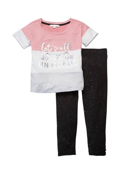 Toddler Girls 2 Piece Graphic T-Shirt and Legging Set