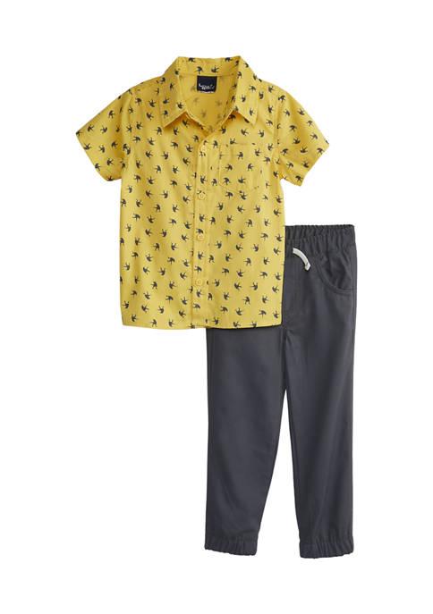 Little Rebels Toddler Boys Dinosaur Printed Shirt and