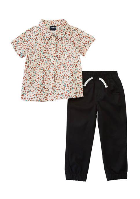 Little Rebels Toddler Boys Floral Shirt and Pants