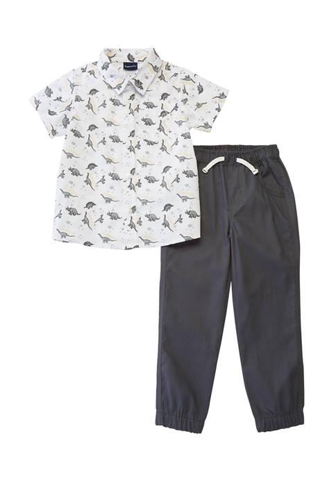 Little Rebels Toddler Boys 2 Piece Dinosaur Shirt