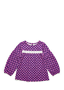 Toddler Girls Medallion Print Peasant Top