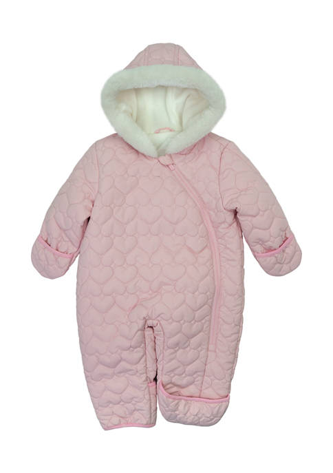 Baby Girls Heart Quilt Fur Trim Snowsuit