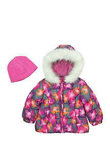 Toddler Girls Floral Puffer Jacket