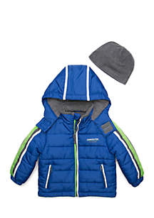 Boys 4-7 Puff Jacket with Hat Set