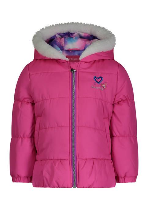 Toddler Girls Pink Bubble Jacket