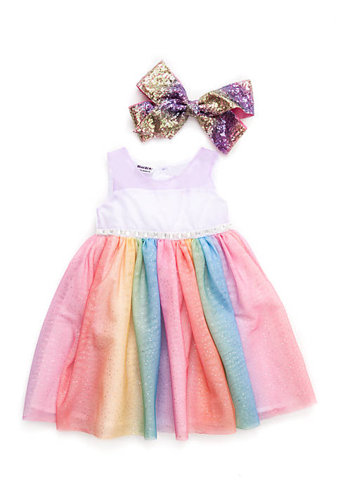 Blueberi Boulevard Girls Infant Rainbow Dress With Clip
