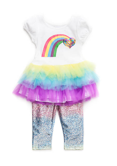 Blueberi Boulevard Girls Infant 2-Piece Rainbow Tutu Set