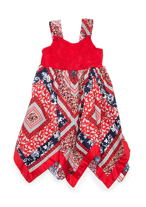 Blueberi Boulevard Infant Girls Handkerchief Hem American Dress