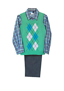 Good Lad Toddler Boys 3 Piece Sweater Vest Set