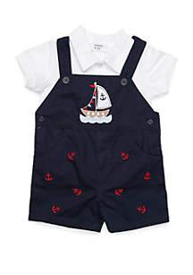 Crown & Ivy™ Baby Boys Nautical Shortall Set