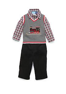 Baby Boys Grey Sweater Vest Train Set