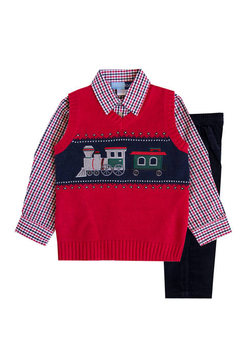 Good Lad Toddler Boys Train Sweater Set