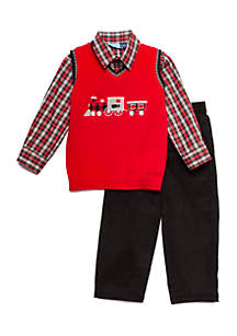 Toddler Boys Red Train Sweater Vest Set
