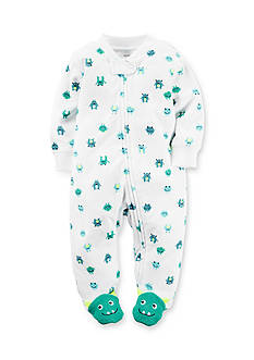 Carter's® Newborn White Monster Print Footed Sleep and Play