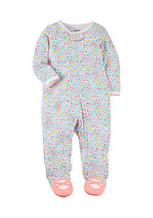 Girls Infant Snap-Up Floral Cotton Sleep & Play
