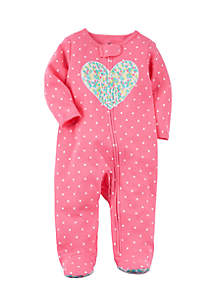 Girls Infant Zip-Up Heart Cotton Sleep & Play