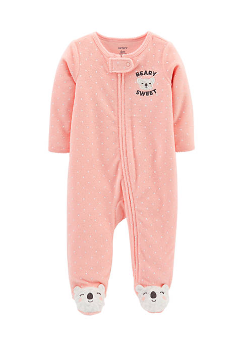 Carter's® Newborn Girls Polka Dot Zip-Up Terry Sleep