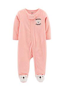 Newborn Girls Polka Dot Zip-Up Terry Sleep & Play