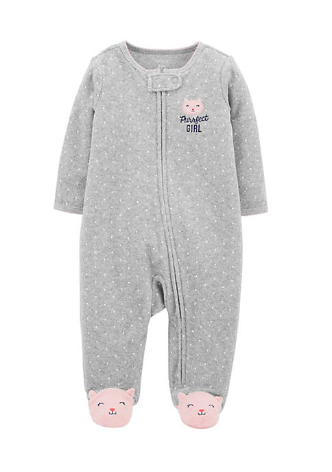 Carter's® Newborn Girls Kitty Zip-Up Terry Sleep &