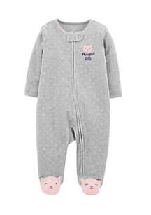 Newborn Girls  Kitty Zip-Up Terry Sleep & Play