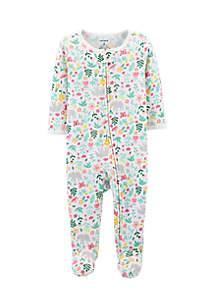 Newborn Girls Floral Zip-Up Thermal Sleep & Play