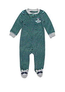 Baby Boys Terry Navy Turquoise Stripe Raccoon Footie