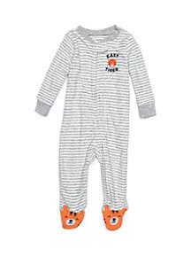 Baby Boys Terry Grey Stripe Tiger Footie