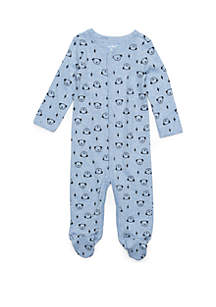 Baby Boys Thermal Snap Blue Dog Print Footie