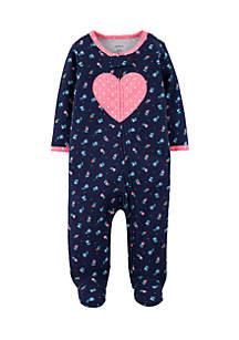 Newborn Girls Heart Cotton Zip-Up Sleep & Play