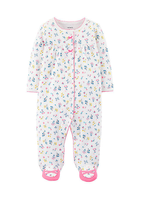 Carter's® Newborn Girls Floral Snap-Up Cotton Sleep &