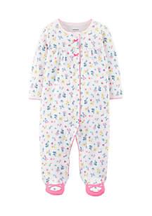 Newborn Girls Floral Snap-Up Cotton Sleep & Play