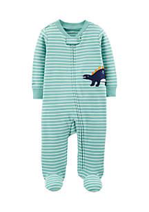 Boys Newborn Dinosaur Zip-Up Cotton Sleep & Play
