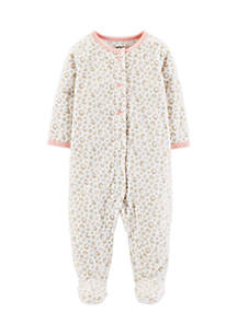 Infant Girls Leopard Snap-Up Fleece Sleep And Play