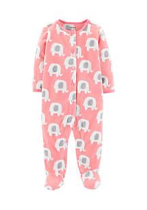 Infant Girls Elephant Snap-Up Fleece Sleep & Play