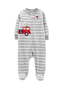 Infant Boys Firetruck Zip-Up Fleece Sleep And Play