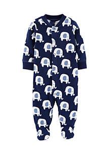 Infant Boys Elephant Snap-Up Fleece Sleep And Play