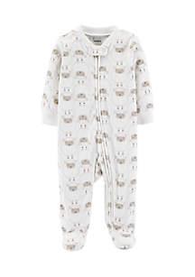 Infant Boys Lamb Zip-Up Fleece Sleep And Play