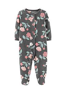Infant Girls Floral Snap-Up Fleece Sleep & Play