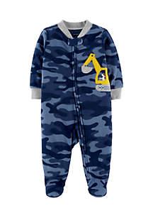 Infant Boys Construction Zip-Up Fleece Sleep & Play