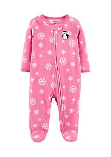 Infant Girls Zip-Up Fleece Sleep & Play
