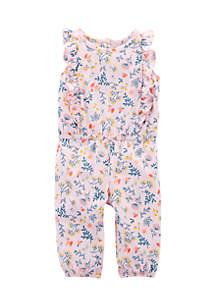Infant Girls Floral Flutter Jumpsuit