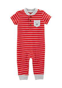 Infant Boys Striped Dog Jumpsuit