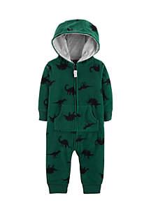 Infant Boys Dinosaur Hooded Fleece Jumpsuit