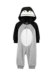 Infant Boys Hooded Penguin Fleece Jumpsuit