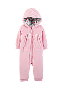 Infant Girls Bear Hooded Fleece Jumpsuit