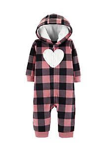 Baby Girls Pink Black Plaid Heart Footies